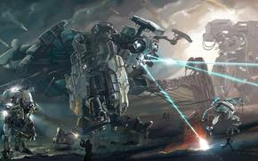 Картинка лучи, люди, Роботы, схватка, выстрелы