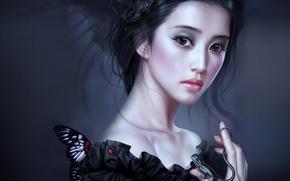 Обои девушка, бабочка, ящерица, Tang Yuehui