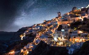 Обои звезды, ночь, город, огни, Греция, млечный путь