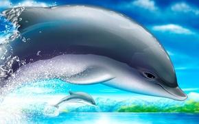 Картинка Дельфин, рисунок