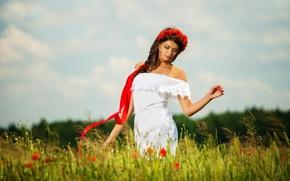Картинка поле, цветы, природа, маки, Девушки