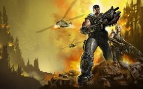 Картинка оружие, огонь, взрывы, броня, Gears of War, бойцы, Marcus Fenix, Anya Stroud