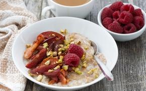 Обои Breakfast, сухофрукты, малина, raspberry, каша, dried fruits, porridge, завтрак
