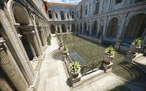 Картинка вода, пруд, здание, арки, дворик, рендер