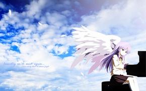 Картинка небо, девушка, крылья, ангел, аниме, рояль, angel beats!, ангельские ритмы, tachibana kanade