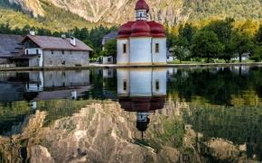 Картинка горы, природа, озеро, отражение, Германия, храм
