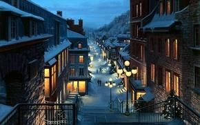 Картинка пейзаж, снежинки, city, город, lights, огни, улица, елки, вечер, Канада, Рождество, фонари, переулок, Canada, живопись, ...