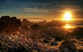 Картинка море, солнце, закат, природа, камни, фото, рассвет, берег
