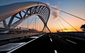 Картинка закат, мост, город