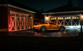 Картинка Porsche, Orange, Carrera, Supercar, Exotic, Borealis, Rear, Ligth, Nigth, Arancio