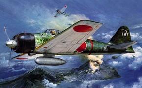 Картинка рисунок, арт, Mitsubishi, Zero, A6M, японский лёгкий палубный истребитель