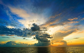 Картинка море, небо, облака, закат, горизонт