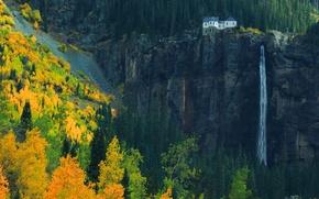 Обои осень, лес, горы, природа, дом, скалы, водопад, октябрь