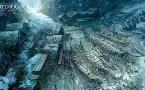 Обои лодка, арт, берег, witcher, море, деревня, дом, Ведьмак 3: Дикая Охота, The Witcher 3: Wild ...