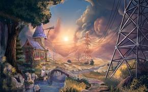 Картинка деревья, мост, дом, река, провода, арт, девочка