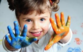 Картинка краска, девочка, ладошки