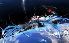 Картинка космос, звезды, полет, Аниме, Hatsune Miku, Vocaloid, планета.