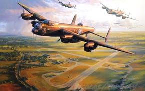 Картинка aircraft, war, art, airplane, aviation, ww2, dogfight, avro lancaster