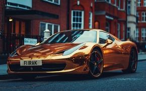 Обои Италия, Gold, Ferrari, Суперкар, 458, Supercar, Front, Золотой, Italia, Феррари, Перед