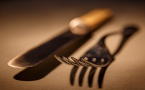 Обои макро, фон, нож, вилка