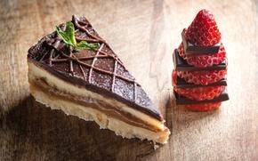 Картинка шоколад, клубника, торт, кусок
