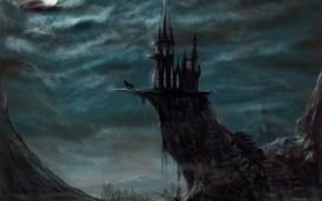 Картинка ночь, фентези, замок, луна, волк, арт, evil castle