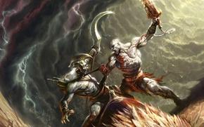 Картинка кровь, монстр, бой, сражение, kratos, God of War