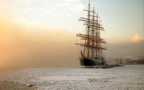 Картинка мороз, Санкт-Петербург, январь, барк Седов