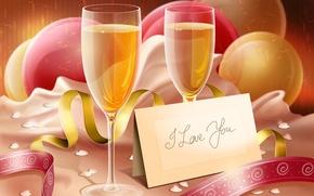 Картинка надпись, бокалы, шампанское, i love you