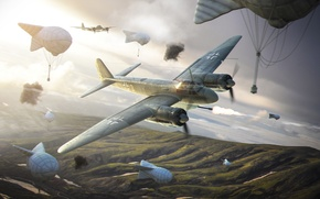 Картинка Wargaming.net, Warld of Warplanes, Ju-88P, аэростат
