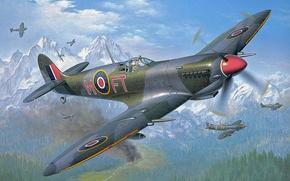 Картинка aircraft, war, spitfire, airplane, aviation, dogfight
