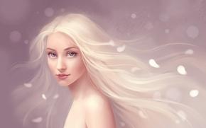 Картинка Девушка, лепестки, белые волосы