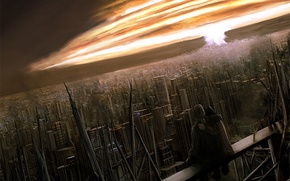 Обои рисунок, ядерный взрыв, город