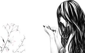 Обои цветы, рисунок, лилии, Девушка, ногти, art, монохромный, Sawasawa
