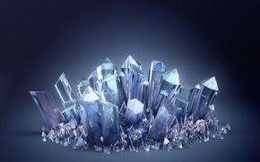 Обои кристаллы, синий