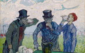 Картинка wine, art, men, cafe, van gogh, drinking