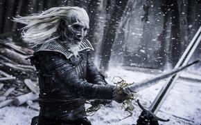 Обои Snowflakes, Drama, White, 2016, Sword, Home Box Office, warrior, year, FOX life, Duel, Ross Mullan, ...
