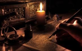 Обои стиль, стол, свеча, под старину
