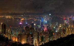 Картинка ночь, река, окна, Гонконг, небоскребы, неон
