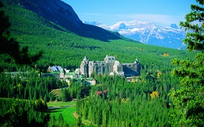 Картинка лес, деревья, горы, Канада, панорама, отель, Банф, Springs Hotel