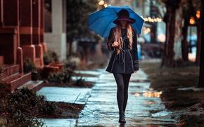 Картинка девушка, дождь, улица, зонт, походка, Rainy day