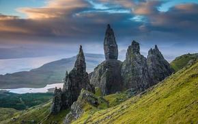 Картинка Шотландия, склон, скалы, горы, камни