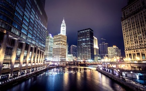 Картинка зима, мост, город, огни, река, здания, небоскребы, подсветка, Чикаго, USA, США, Иллинойс, Chicago, Illinois, United …