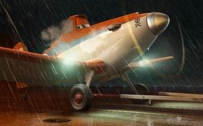 Картинка дождь, мультфильм, крылья, приключения, Cars, rally, wings, взлётная полоса, Тачки, Walt Disney, анимация, action, Уолт …