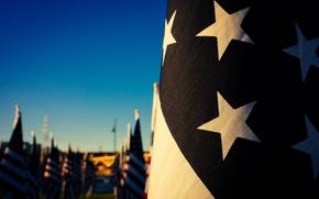 Картинка red, USA, white, blue, stars, bokeh, flag, flags, states, America, American Flag, Stars and Stripes, …