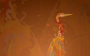 Обои цапля, фон, завитки, линии, журавль, рисунок, птица, Ubuntu