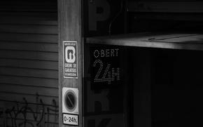 Картинка city, город, стиль, табличка, минимализм, черно-белое