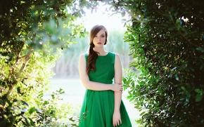 Картинка Портрет, платье, зелёное
