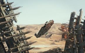 Картинка пустыня, взрывы, Star Wars, развалины, Звёздные Войны, The Force Awakens, Пробуждение Силы, Эпизод VII, погоня …