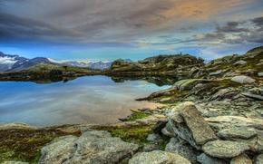 Картинка облака, горы, озеро, камни, Швейцария, возвышенность, Obergoms